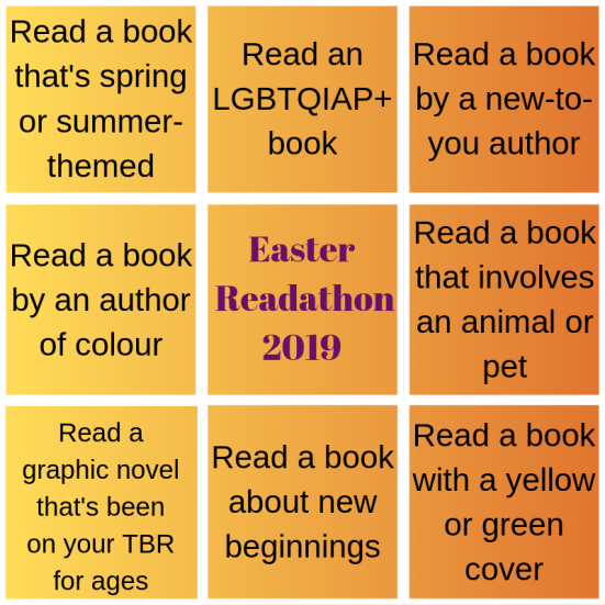 The Easter Readathon bingo card. Categories include:  Read a book that's spring or summer themed Read an LGBTQIAP+ book Read a book by a new-to-you author Read a book by an author of colour Read a book that involves an animal or pet Read a graphic novel that's been on your TBR for ages Read a book about new beginnings Read a book with a yellow or green cover