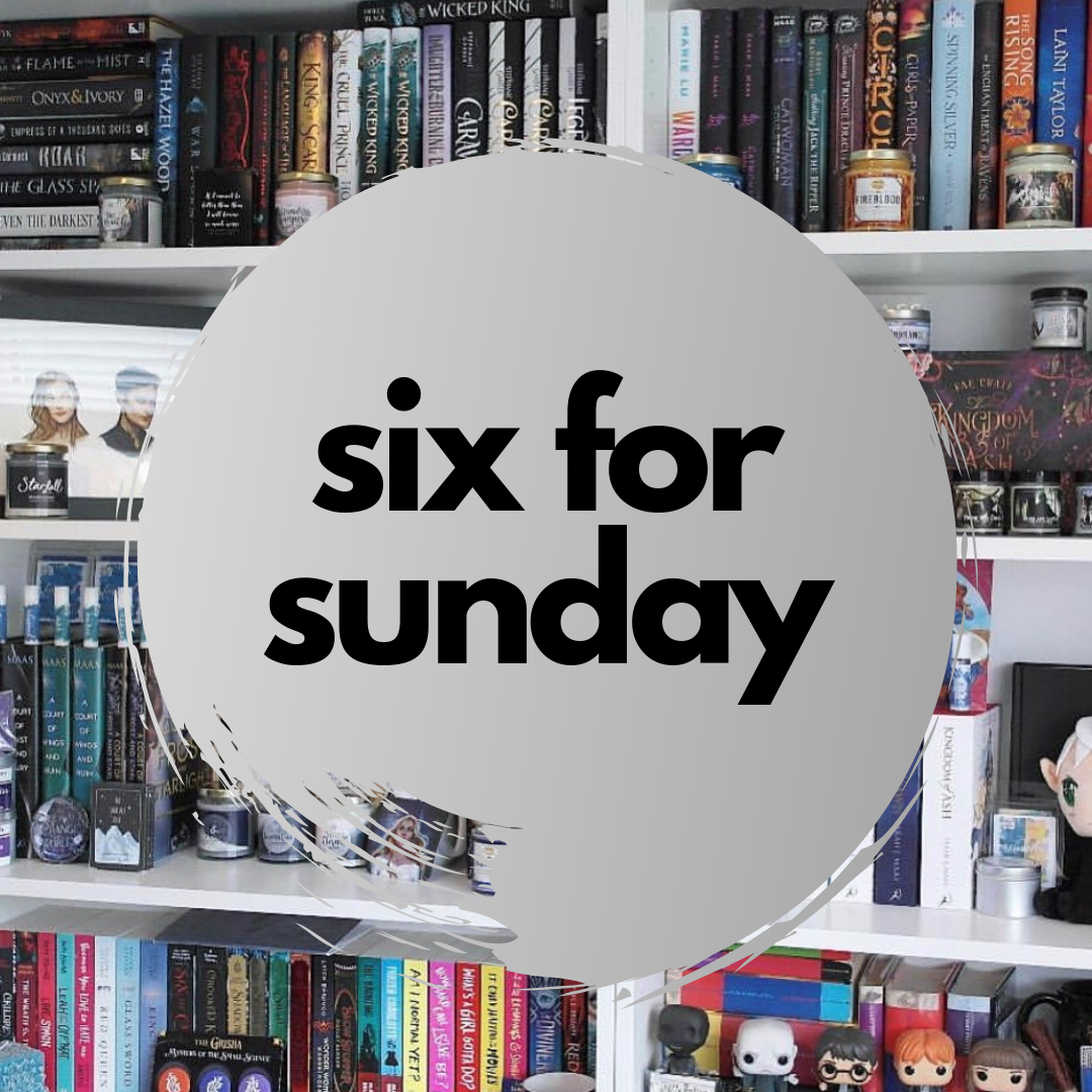 Six for Sunday logo overlaying a photo of bookcases