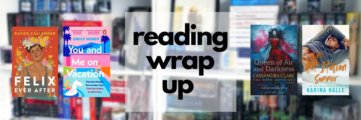 A graphic showing the June wrap up. An overlay of four book covers from the wrap up on top of a blurred photo of my bookshelves, with the text reading wrap up in the middle.