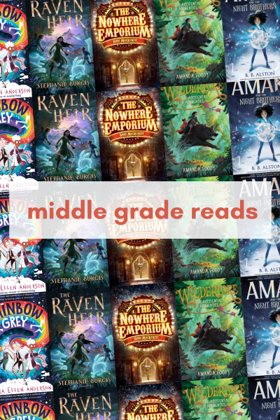 5 middle grade books I'm excited to read. A graphic showing the five covers repeated over 5 rows with the words middle grade reads overlayed.